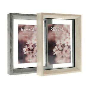 Kenro Reveal Floating Glass Grey and Natural Wood Effect Picture Photo Frame