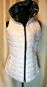 NWT Obermeyer S Winter White Down Filled Hooded Animal Lining Puffer Vest