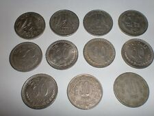 "- INDIA - 11 OLD  ""1/2 RUPEE"" / ""50 NAYE PAISE"" & ""50 P."" COINS -1950/ 1985#11DG"