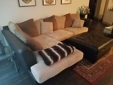 2 Piece Leather & Microfiber Sectional Sofa with matching leather Ottoman