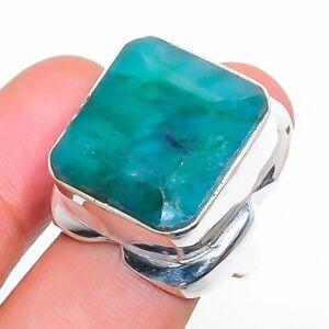 Skota Emerald Gemstone Handmade 925 Sterling Silver Jewelry Ring Size 9 i531