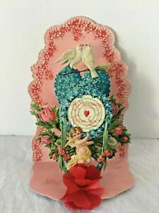 Antique Victorian Valentine Pop Up Cupid Doves Tissue Rose Pink Rosebuds Germany