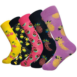 New 6 Pairs Of Men's Casual Combed Cotton Tropical Fruit Design Dress Stockings