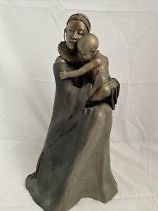 "Soul Journeys Maasai Figure Etanakita Mother's Touch Brass Ornament 14"" Tall L3"