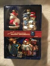 USPS Christmas Ornaments Hand Painted Blown Glass 2005 Holiday Cookies Set New