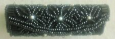 Beautiful Vintage Black Beaded Lipstick Case with Mirror, Snaps Closure