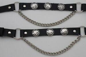 Western Men Boot Bracelet Silver Chain Black Leather 2 Strap Buffalo Bull Biker