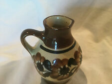 Vintage Pottery Brown Blue Flowers on Brown Pitcher Marked 22404l0 on Bottom