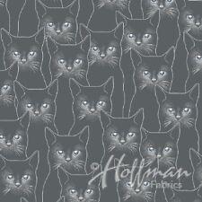 Fabric 100% Cotton Hoffman P4347 Cats Charcoal/Silver metalic