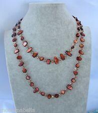 Naturale perle Collana Filo lungo madreperla,cristallo da donna,marrone traspa.