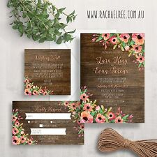 Wedding Invitation Set Suite | Wood Floral Rustic Flowers RSVP Wishing Well Card