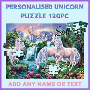 Personalised Unicorn Puzzle - 120pc Jigsaw - Name Gift - Kids Birthday Christmas