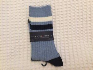 1 PAIR x TOMMY HILFIGER Blue/ White Cotton Ankle Socks UK One Size Uk 6-8 UNISEX
