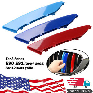 M Color Front Grille Grill Cover Strips Clip Trim For BMW 3 Series E90 2004-2008
