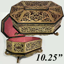 Antique French Boulle Jewelry Box, Casket, 10.25 » Octagonal Brass on Walnut