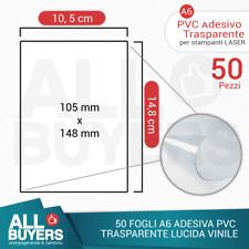50 FOGLI A6 CARTA ADESIVA TRASPARENTE LUCIDA STICKER STAMPANTE LASER PVC VINILE