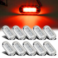 10pcs Marine Boat Red LED Oblong Courtesy Light Stair Yacht Deck Clear Stainless