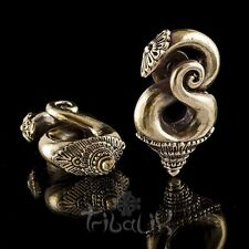 Gold Brass Spiral Ear Weights 6mm Gauge LAO Stretched Lobe Jewellery (Code 17)