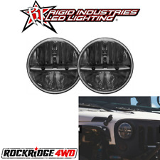 "RIGID Truck Lite LED Headlights 7"" Round w/ H13 to H4 Adaptors - 55001 Jeep JK"