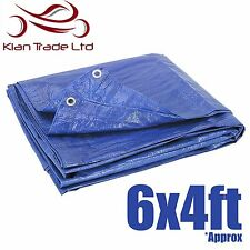 6ft x 4ft TARPAULIN BLUE WATERPROOF TENT FLY COVER GROUND COVER SHEET WINDBREAK