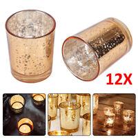 12X Glass Tea Light Candle Holders Golden Mercury  Set Votive Home Party Decor