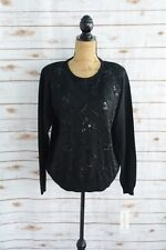 NWT Alfred Dunner - Black WOOL blend BEADED crewneck sweater, size PL
