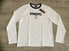 MENS MERC LONDON TARGET LOGO SOFT COTTON LONG SLEEVE T-SHIRT WHITE M