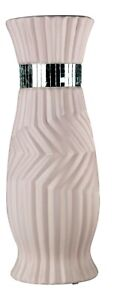 30cm Tall Ceramic Pink Geometric Rippled Flower Vase Flared & Mirror Stripes