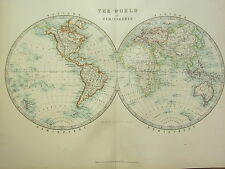 1896 LARGE VICTORIAN MAP WORLD IN HEMISPHERES WESTERN & EASTERN AMERICA ASIA