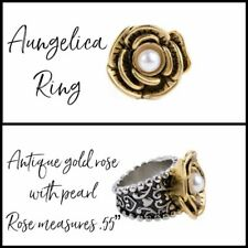 Plunder Aungelica Antique Gold Rose with Pearl & Silver Band Ring Size 8