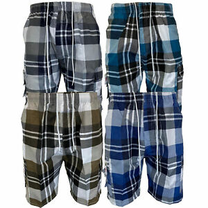 Mens Checked Shorts Combat Cargo Knee Length Tartan Sports Beach Casual Summer