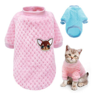 Cat Jumpers for Pets Small Dogs Knitted Embroidery Chihuahua Clothes Sweater S-L