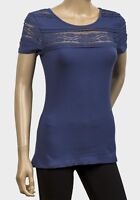 New Dark Blue Lace Trimmed Short Sleeved T Shirt Top Sizes S M L XL FREEPOST