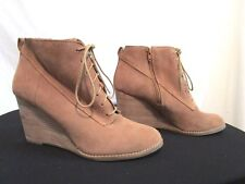 Lucky Brand Brown Suede Wedge Lace Up Ankle Booties Boots Women Sz 10 US/40 EU