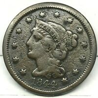 1844 Penny Braided Hair Large Cent - Original- Nice Coin.