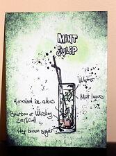 Mint Julep cocktail recipe A5 metal sign house gift idea vintage design