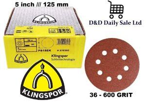 125 mm Sanding Discs / Hook&Loop 8 hole pads 5'' KLINGSPOR 36 - 600 GRIT 5 inch