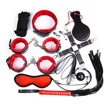 10-pcs-Bondage-Restraints-Set-Kit-Ball-Gag-Cuff-Whip-Collar-Fetish-Sex-Toys