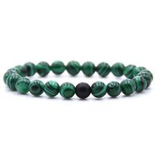 Men's Natural Stone Black Matte Green Malachite Beaded Bracelets Fashion Jewelry
