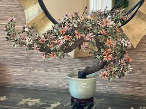 VINTAGE CHINESE JADE BONSAI TREE HUGE and HEAVY 30x22 BIRDS INCLUDED