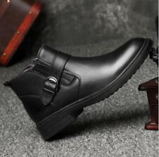 US10 Men's Casual Ankle Short Boots Buckle Real Leather Dress Shoes Thin Feng8