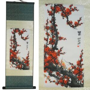 Chinese Cherry Blossom on Scroll Silk Scroll Wall Hanging Large New