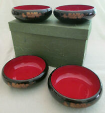 Lacquerware Wood Bowls (Qty. 4) - Red / Black / Floral - Japan - in Orig Box