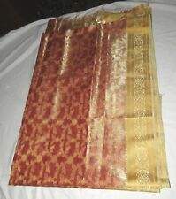 Indian Net Wedding Bridal Saree Sari Gold Floral