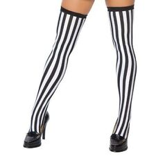 Vertical Striped Thigh High Stockings Referee Costume Hosiery Black White ST4221