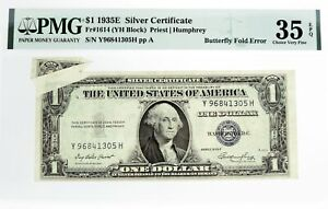 1935 E $1 Silver Certificate Fr#1614 Butterfly Fold Error PMG Choice VF35 EPQ
