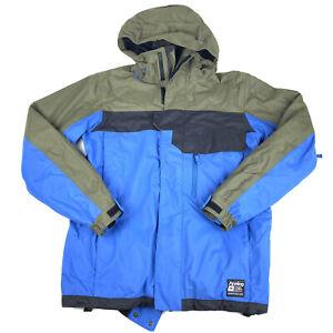 Burton Analog Asset Snowboard Jacket Mens Sz Small Hooded 10,000 MM G Blue