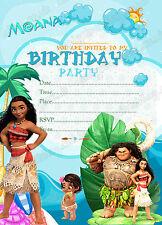 Disney Moana Birthday Party Invitations Kids  Party Invitations x8 Cards-Thick