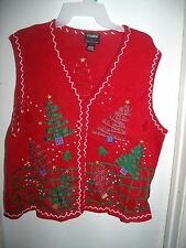 Designers Originals Studio Joy Red Trees Sequins Christmas Sweater Vest XL Ugly