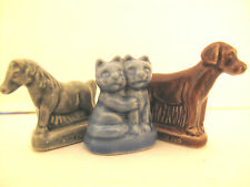 Lot 3 Wade England Ceramic Figurines Brown Dog Two Blue Cats Old Gray Mare Horse